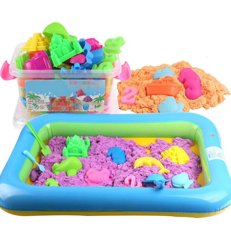 太空火星玩具 沙套装 儿童宝宝粘土彩沙魔力橡皮泥沙子 5斤桶装蓝色+71个模具+沙盘